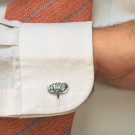 Cuff Links Oval Gray