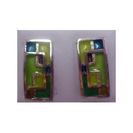 Earrings Rectangle Green