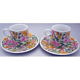 Set 2 tazas y 2 Platos Cafe Hojas