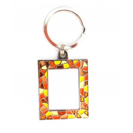 Magnet key ring trencadis orange with photo