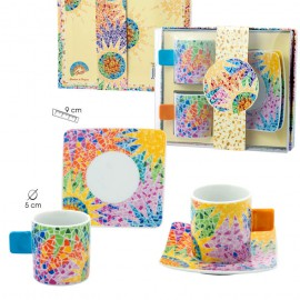 Gaudi Set 2 Cups & Saucers Square Handle