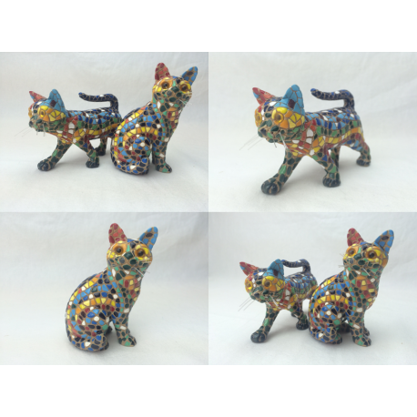 Set of 2 cats in trencadis