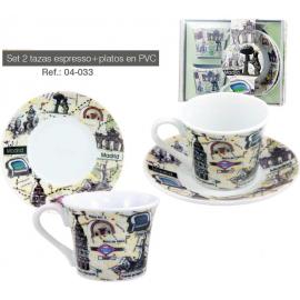 Set 2 tazas y platos