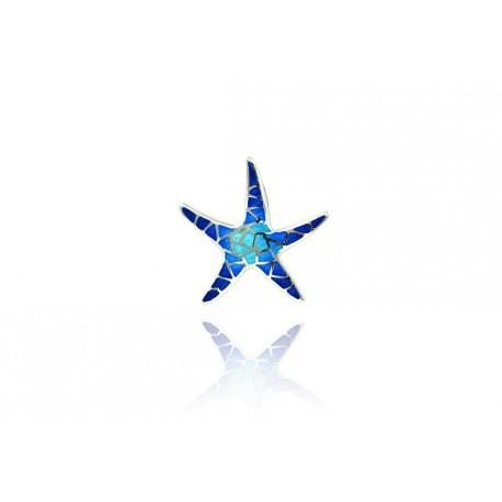 Silver Pendant Starfish Blue