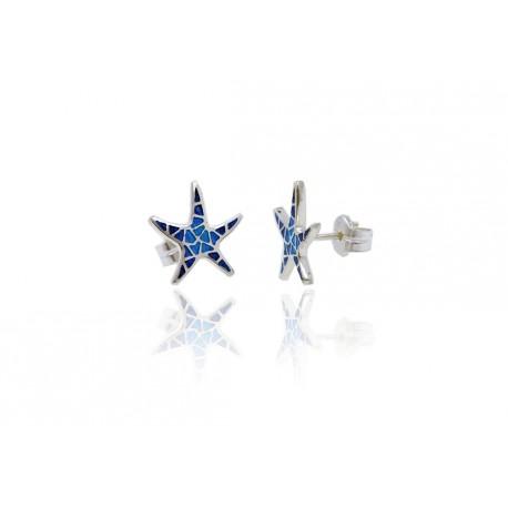 Earrings Star Trencadis Plane Blue