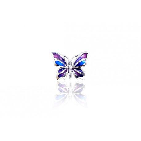 Silver Pendant Butterfly purple