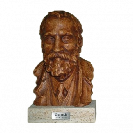Gaudi bust in carved beech with pedestal