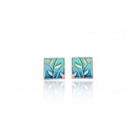 Earrings Leaves Blue