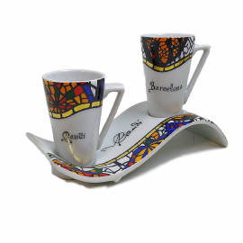 Set of 2 mugs with a wavy tray