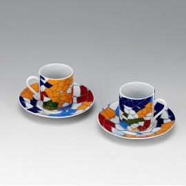 Set 2 tasses i plats rodons de cafè Trencadís