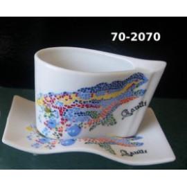 Taza y plato alargado dragón