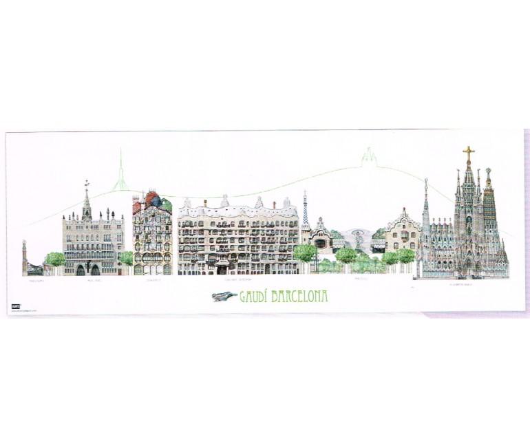 Poster Panoramico Gaudi Barcelona