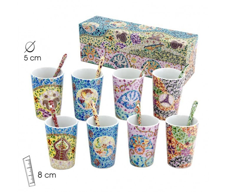 Set of 4 Glasses With Spoons Gaudi Elements