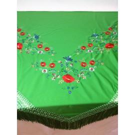 Mantón de manila picos verde hierba