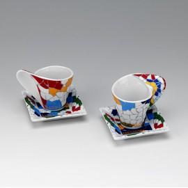 Set 2 tasses i 2 plats de cafè quadrats Trencadís