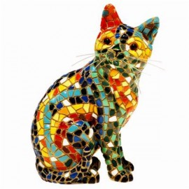 Gato Sentado Trencadis - 15 cm