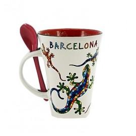Mug with spoon Gaudi Salamander