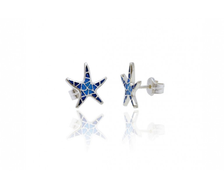 Earrings Star Trencadis Plane Blue