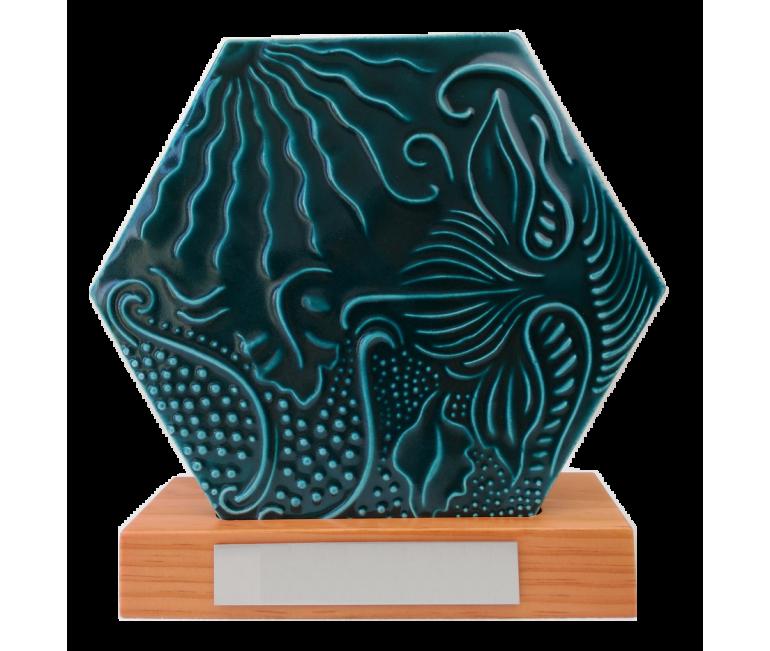 Gaudí Hexagonal Tile 20 cm on wood base