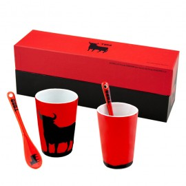 Set 4 bull cups with spoon