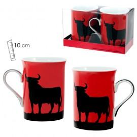 Set of 2 bull mugs