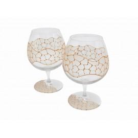 Gold Gaudi Set of Brandy Cups
