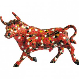 Tiny red trencadis bull