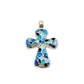 Croix Trencadis bleu rondes