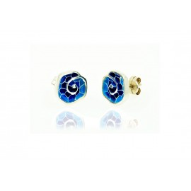 Boucle d'oreille en mosaïque bleue