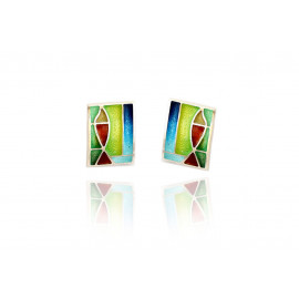 Flat enamel earrings
