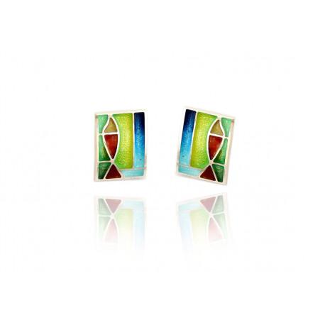 Flat enamel earrings