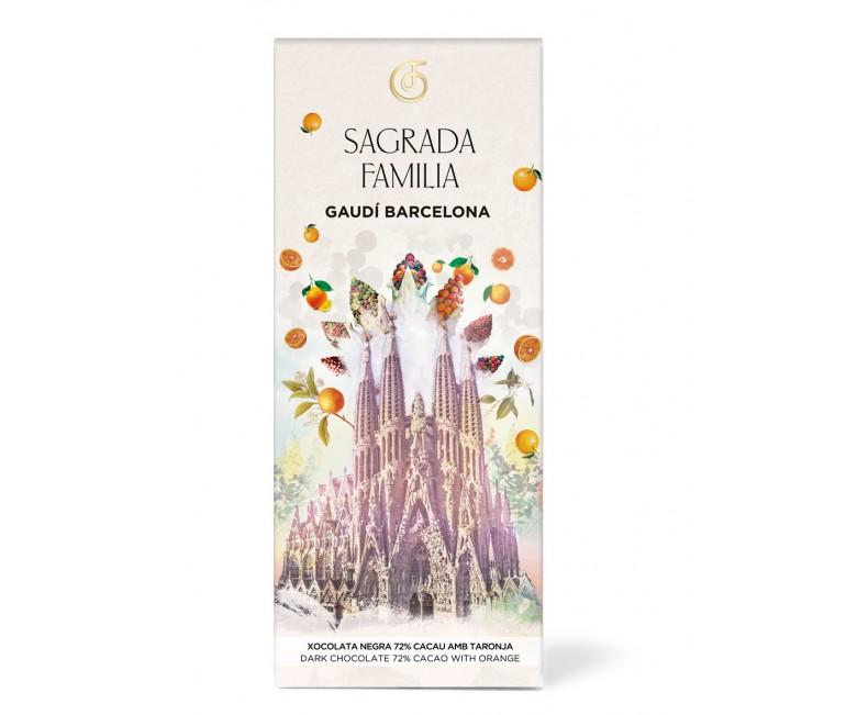Dark Chocolate with pieces of orange Sagrada Familia