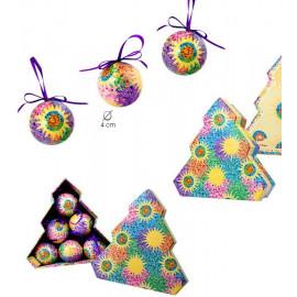 Set 6 boules de Noël dans la boîte de l'arbre