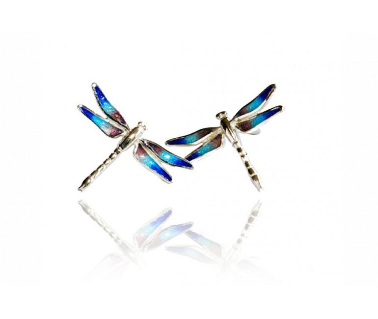 Boucles d'oreilles bleu libellules