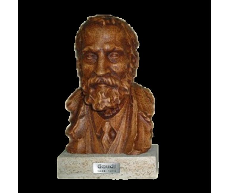 Busto Gaudí tallado en haya con peana
