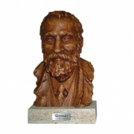 Gaudí bust in carved beech with pedestal