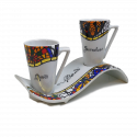 Set 2 tazas con bandeja ondulada Gaudí Rococó