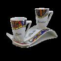 Set of 2 mugs with wavy tray Gaudí Rococó