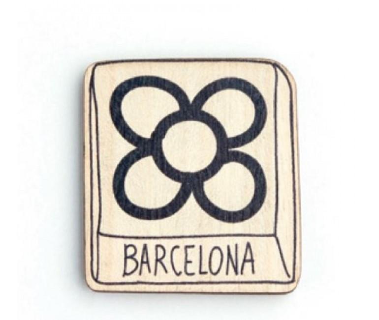 Barcelona Flower Wood Magnet