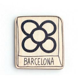 Imán madera Flor Barcelona