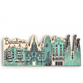 Barcelona Flower Wood Magnet