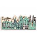 Barcelona Skyline Wood Magnet
