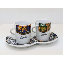 Set de 2 Tasses et Assiettes