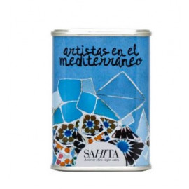 Mini olive oil can Blue Trencadís 100 ml