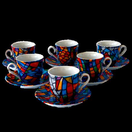 Set 6 Espresso Coffee Cups Sagrada Familia Gaudi