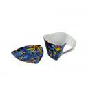 Tassa triangular de cafè amb plat - Vitral