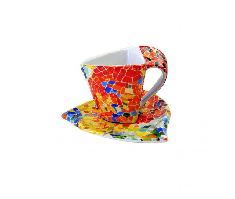 Tassa triangular de cafè amb plat - Aurora