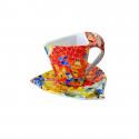 Triangular Cup with Saucer - Aurora