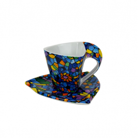 Triangular Cup with Saucer - Vitral