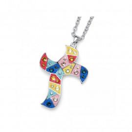 Pendentif Gaudí Croix Multicolor